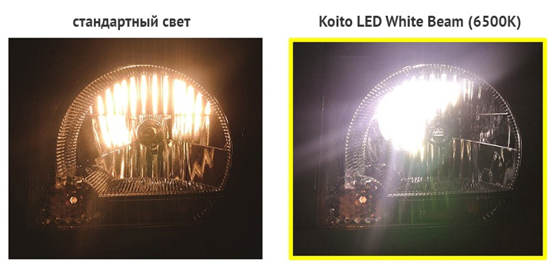 пример свечения Koito LED WhiteBeam (6500K)